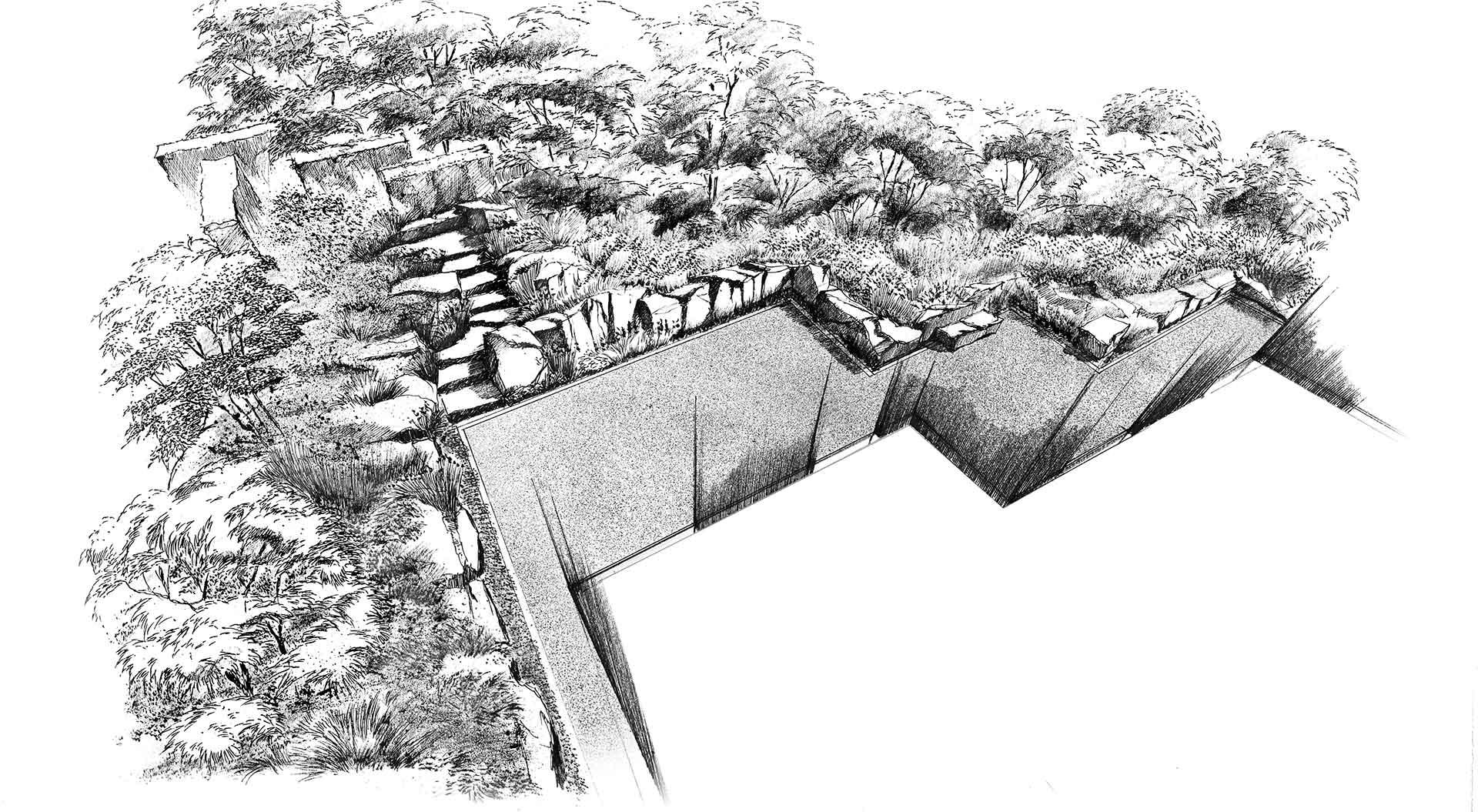 Skizze für Hanggarten-Planung im Ahrtal
