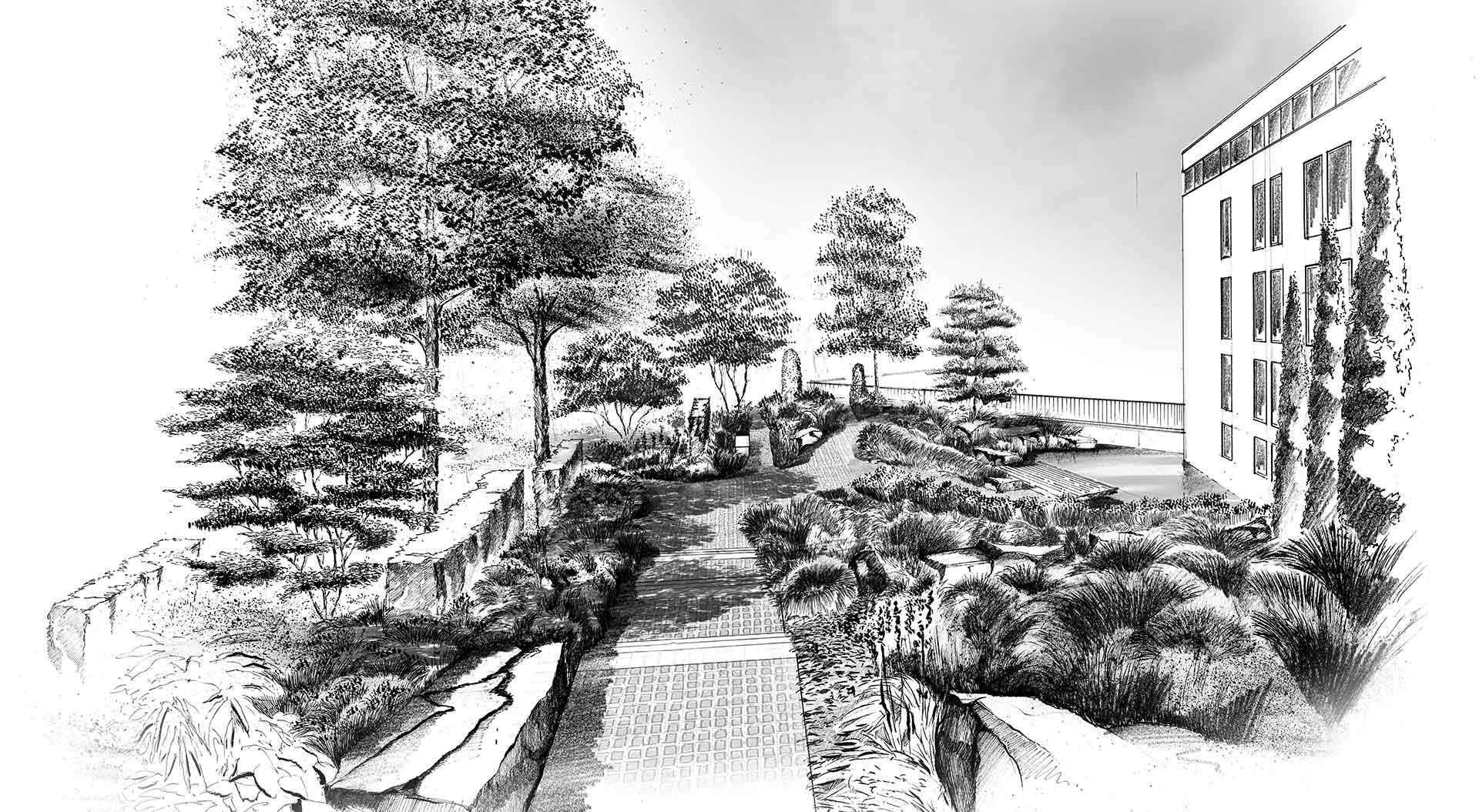 Skizze für Gartenplanung in Ahrweiler