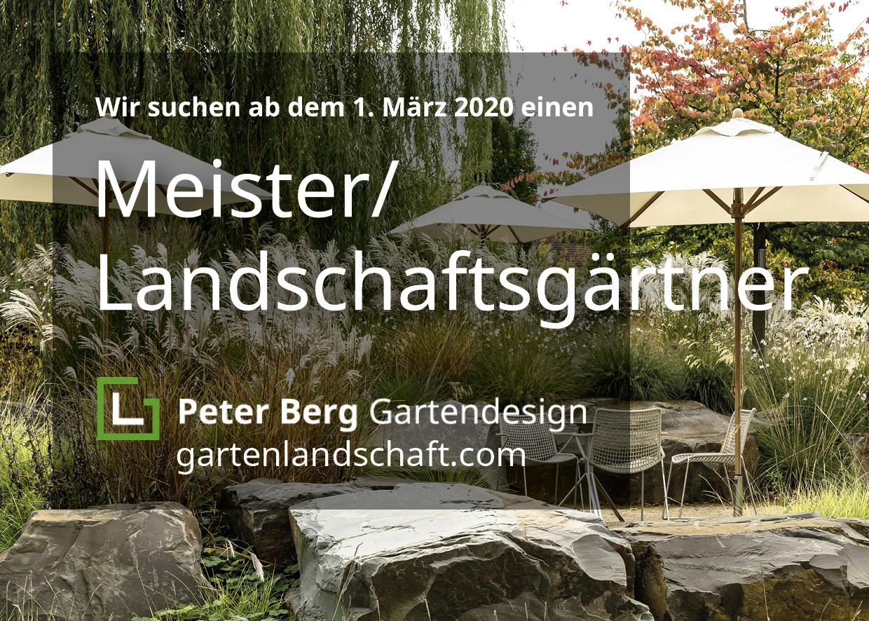 Aushang von Peter Berg mit der Suche nach Meister / Landschaftsgärtner