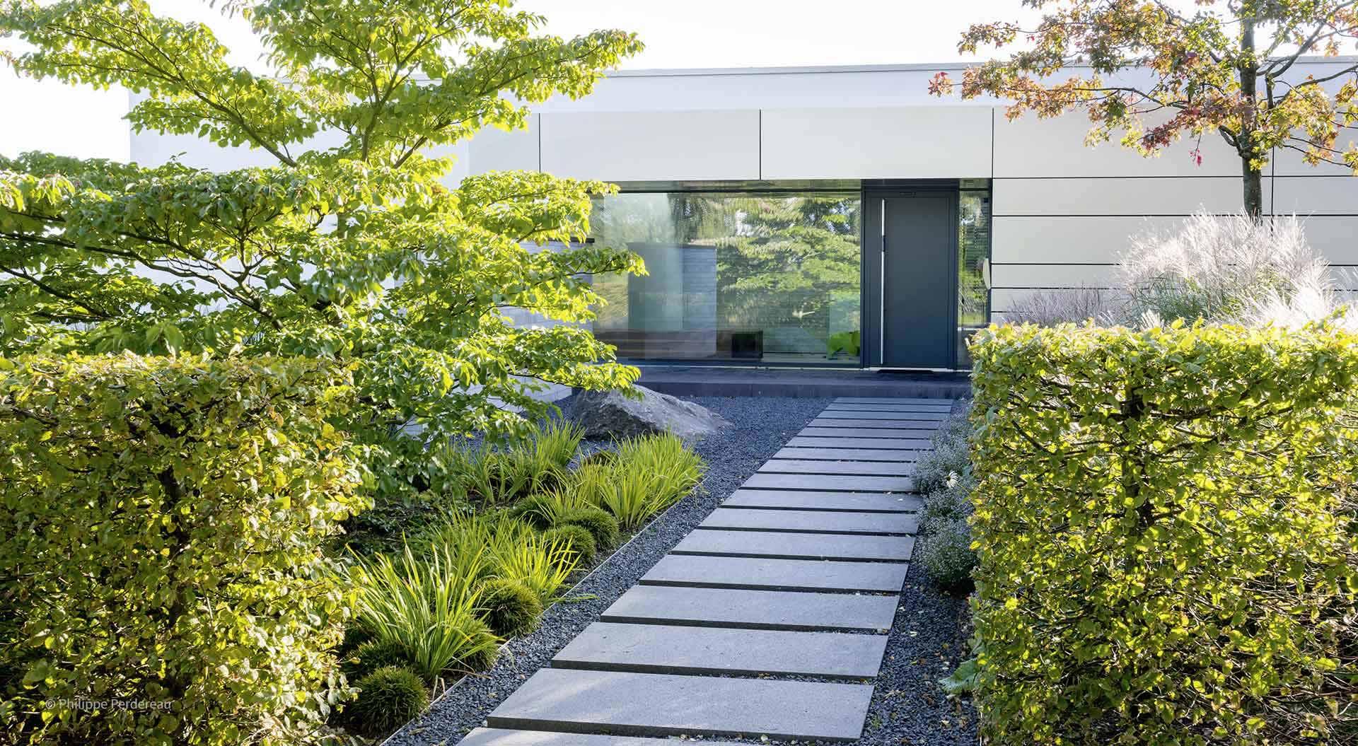 Weg zum Haus mit einzelnen Steinplatten zwischen Hecken und Pflanzen