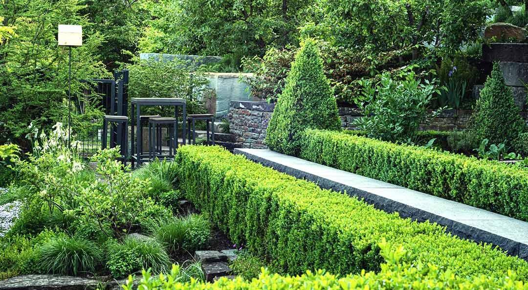 Hecken, Pflanzen und Natursteinmauern führen Weg zu Sitzgelegenheit