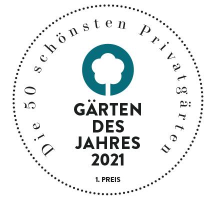Logo der Auszeichnung für 1. Preis der Gärten des Jahres