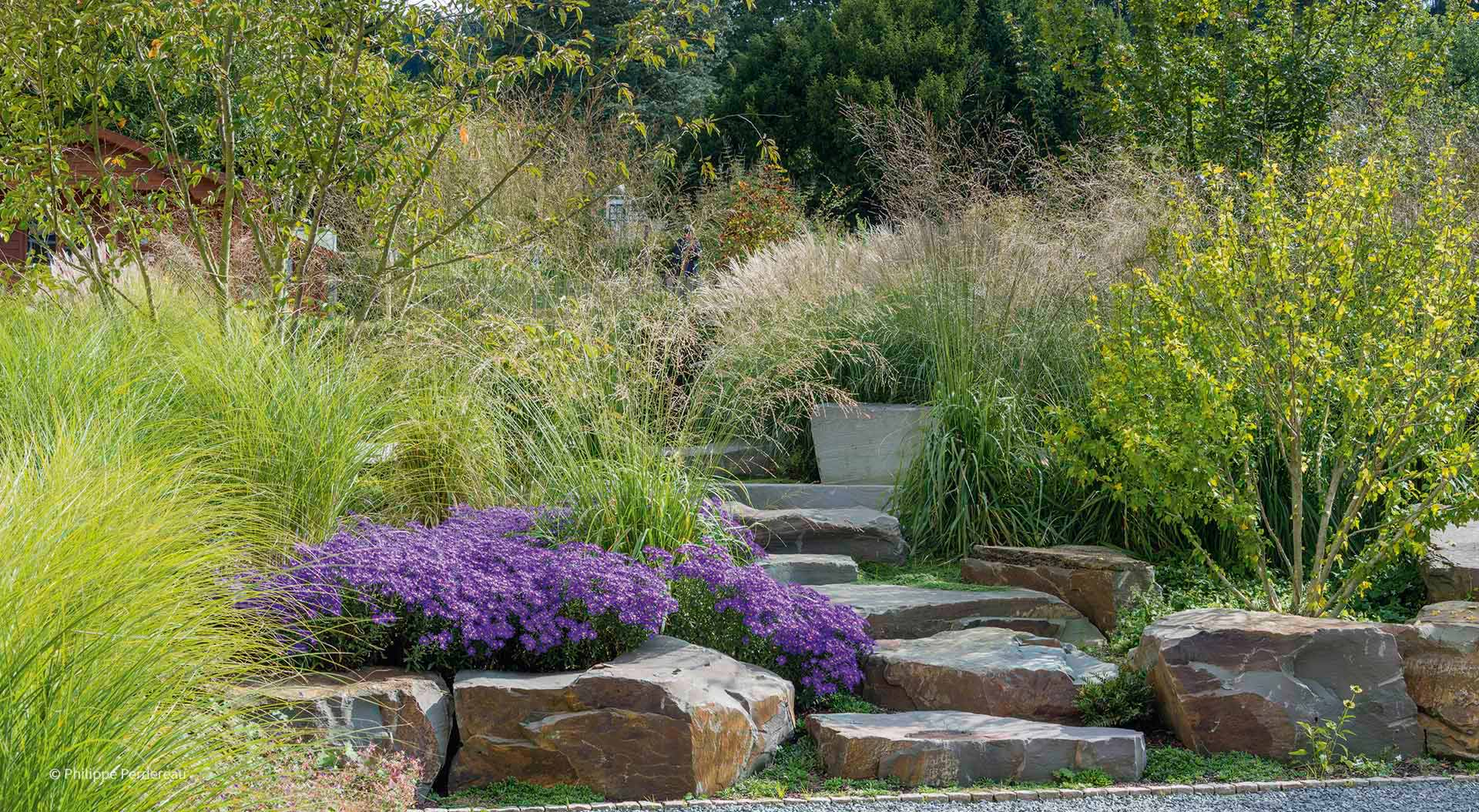Big colourful garden with natural stone steps