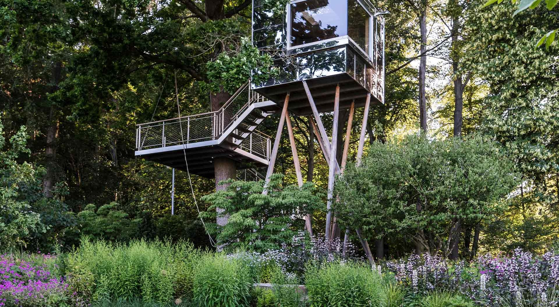 Modern glass tree house between trees, flowers and bushes