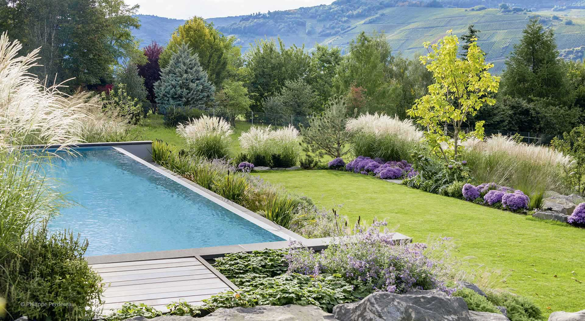 Colourful varied garden with pool and nice distant view