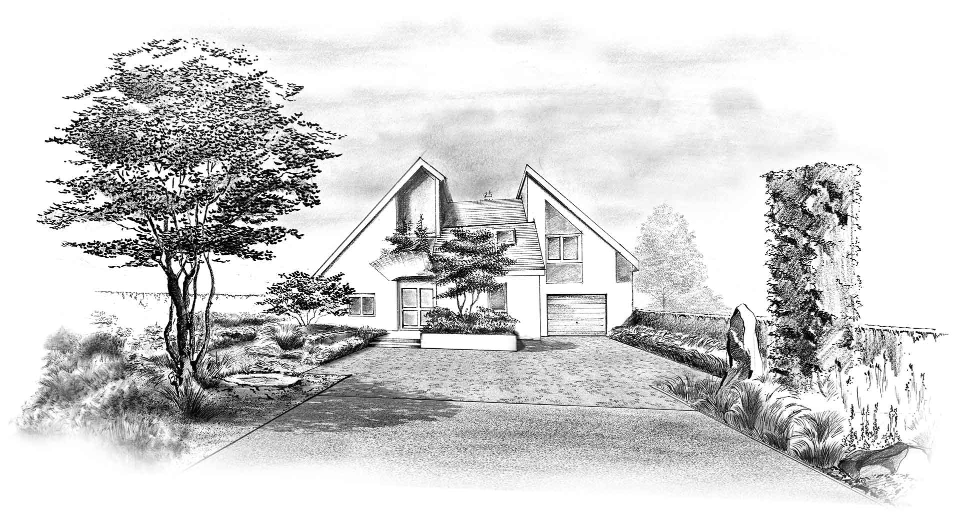 Hand-drawn sketch of a planned private garden