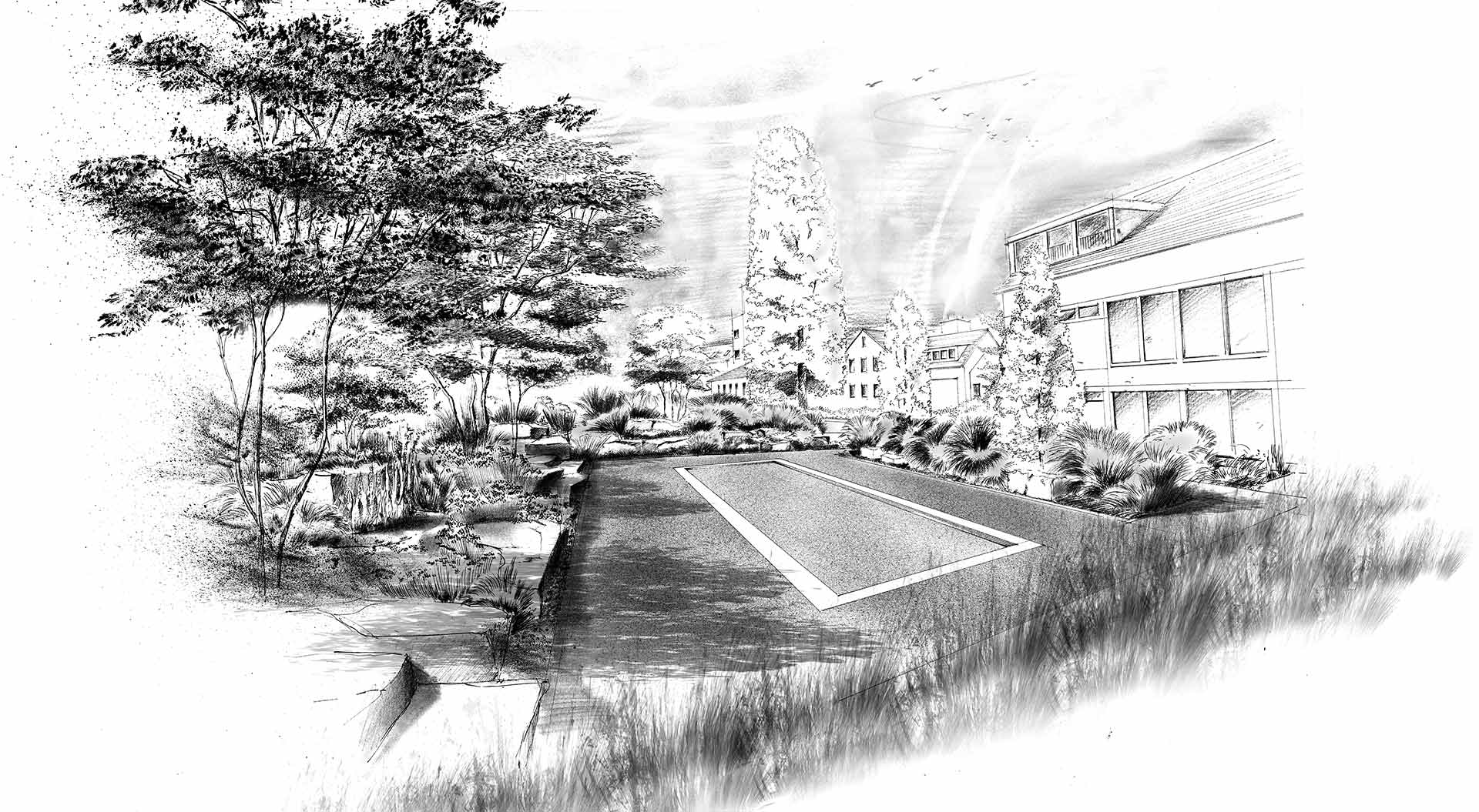 Hand-drawn sketch of a planned garden in arenberg