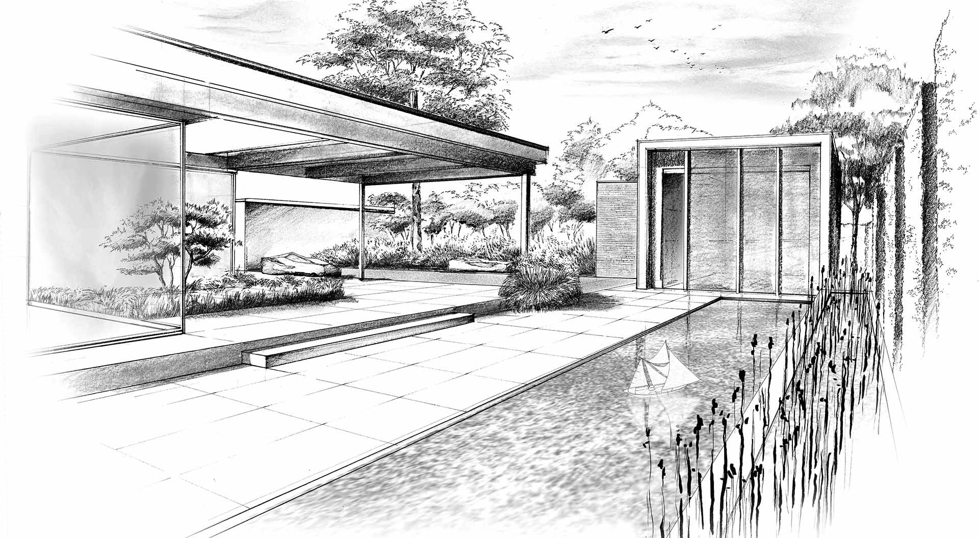 Hand-drawn sketch to plan a private garden