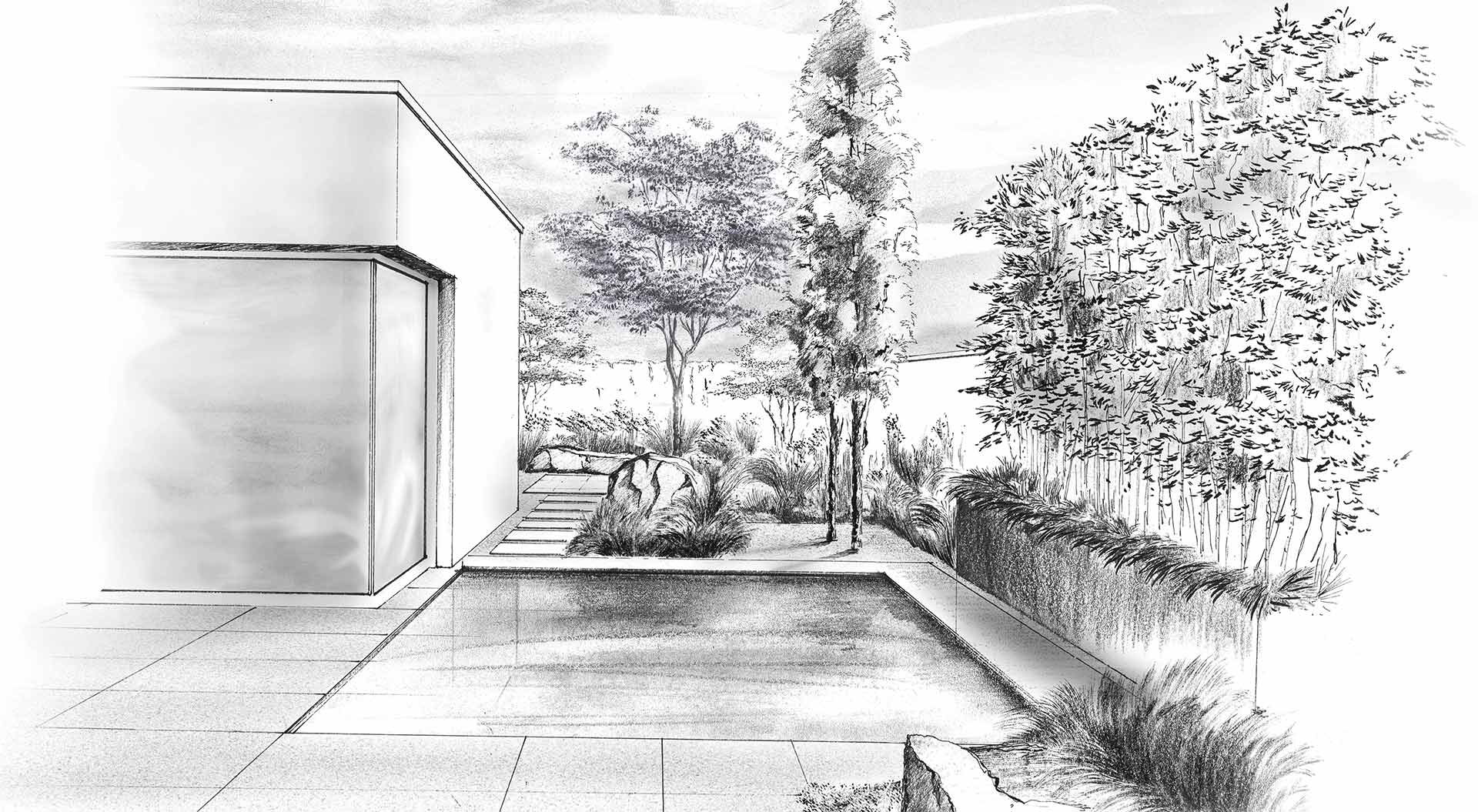 Hand-drawn sketch of a private garden with a little pool
