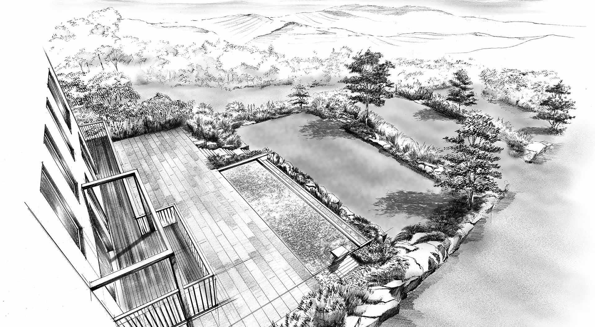 Hand-drawn sketch of a private garden