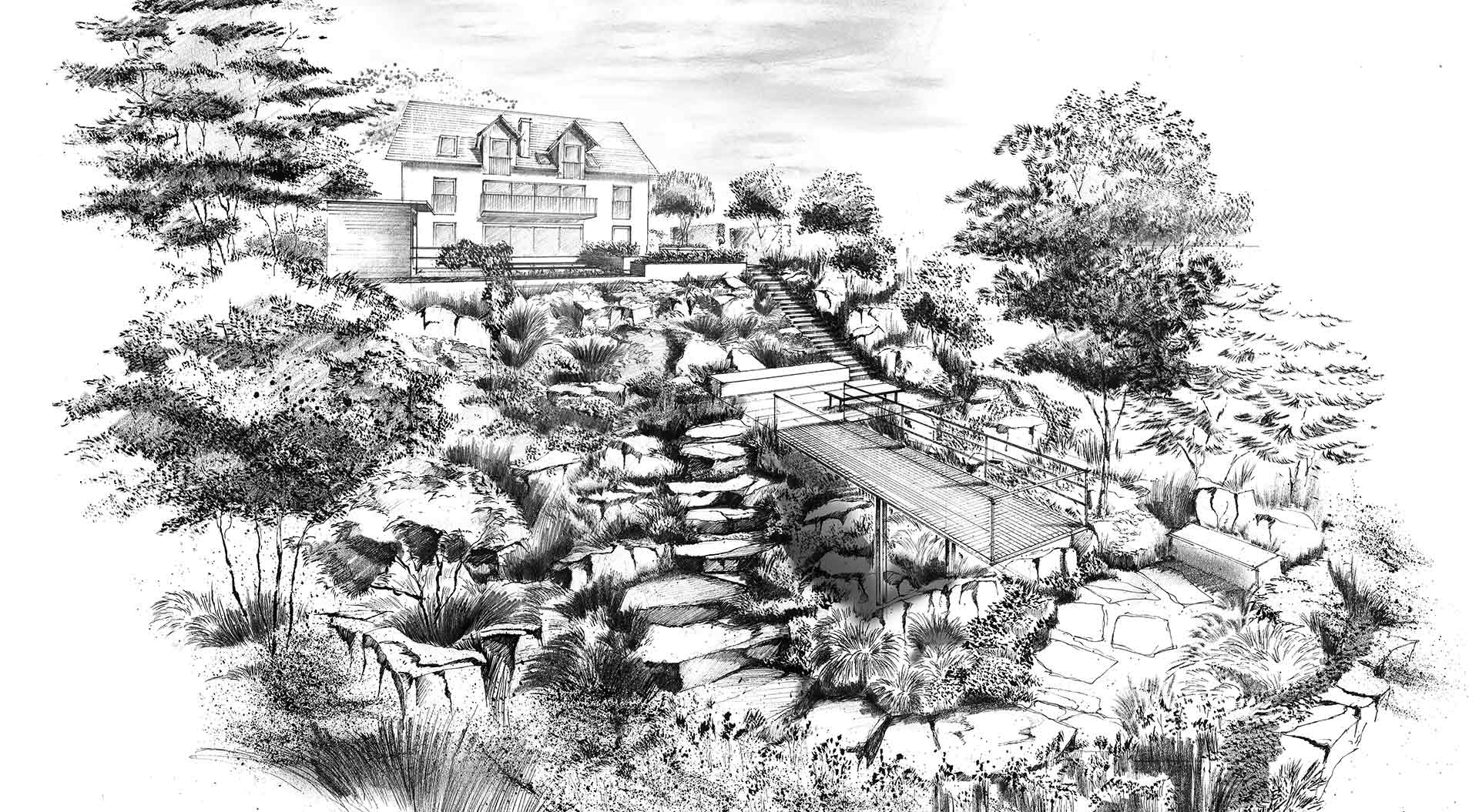 Concept drawing of a slope garden with stones, plants and dock