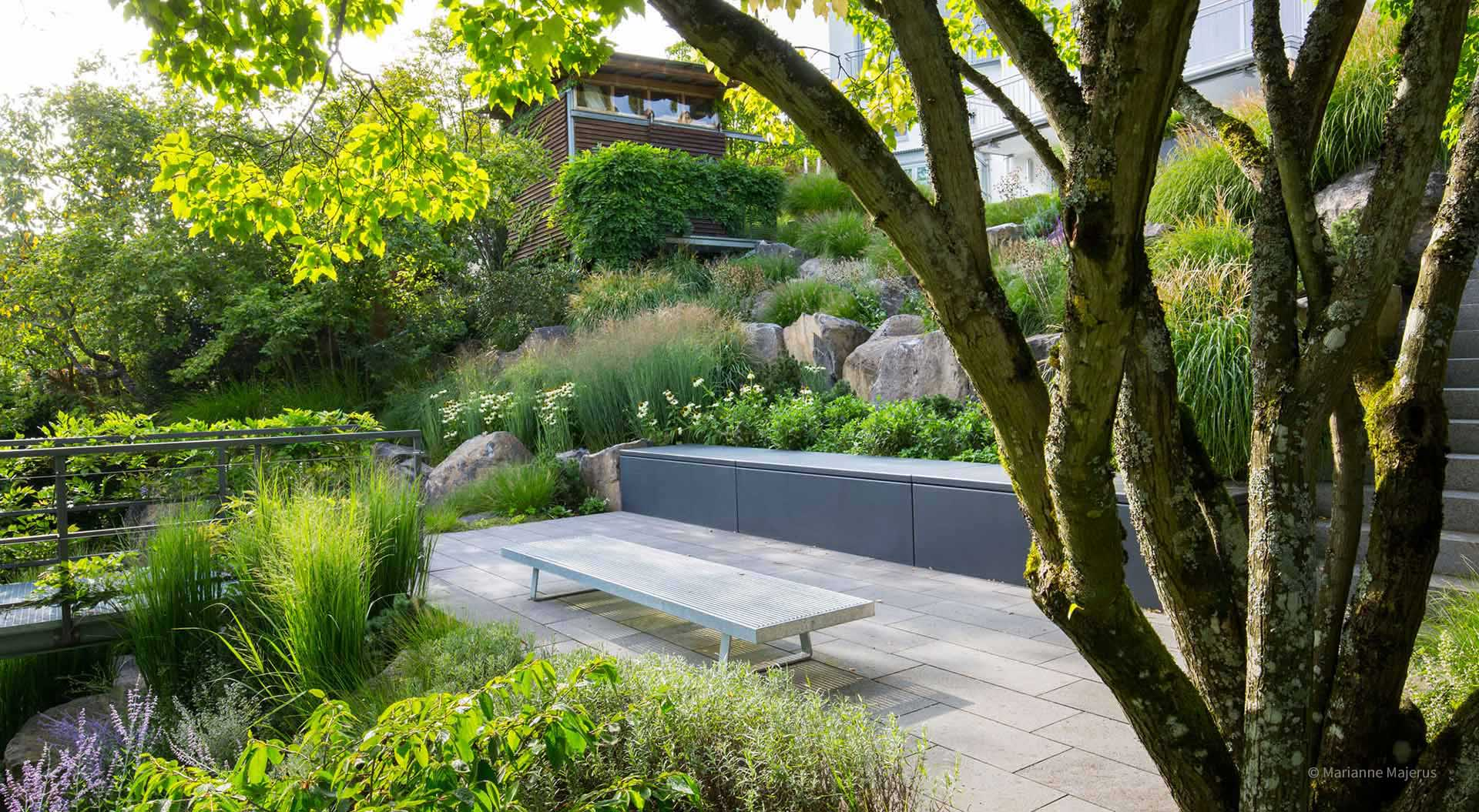 Individual garden with trees, patio, plants, steps and flowers