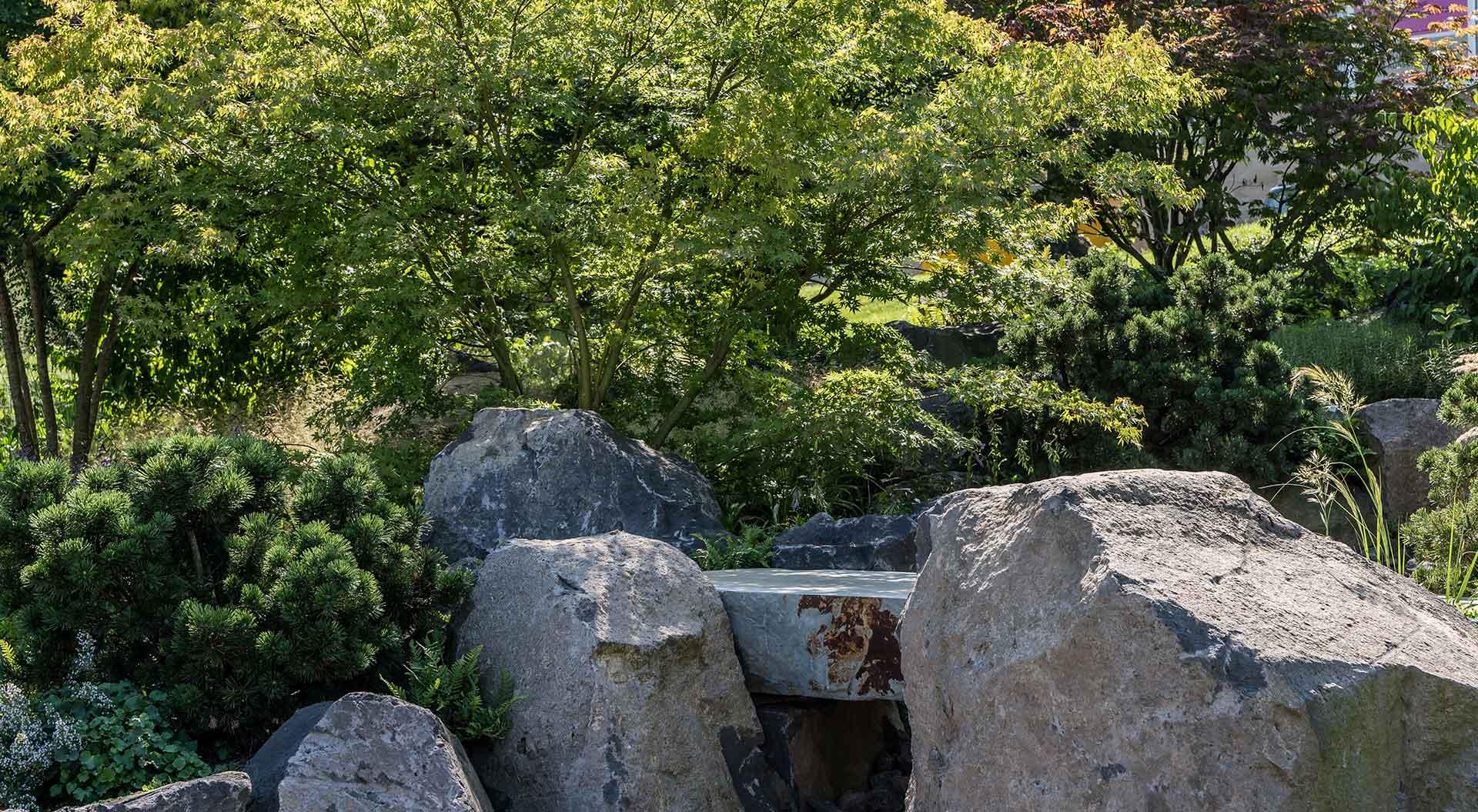 Große Natursteine zwischen Büschen und Bäumen
