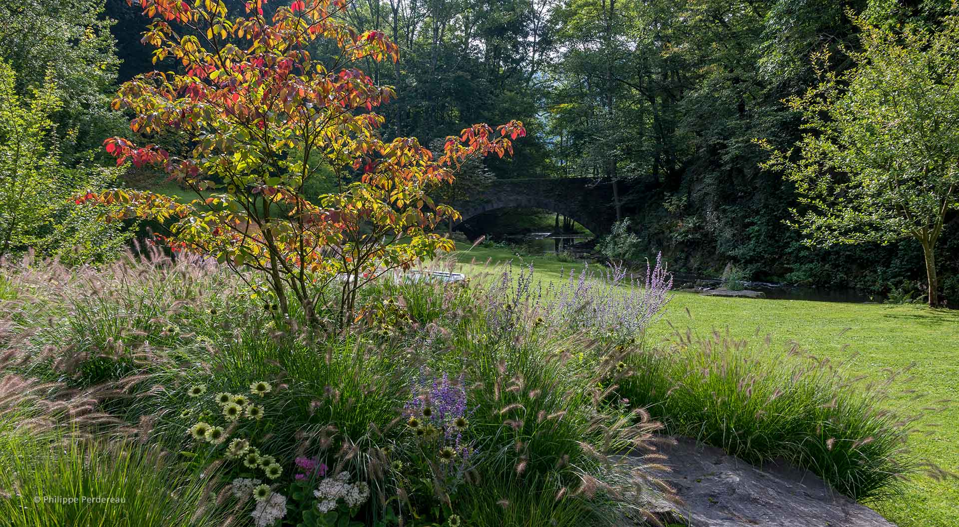 Grüner Garten mit Pflanzen, Fluss und Brücke