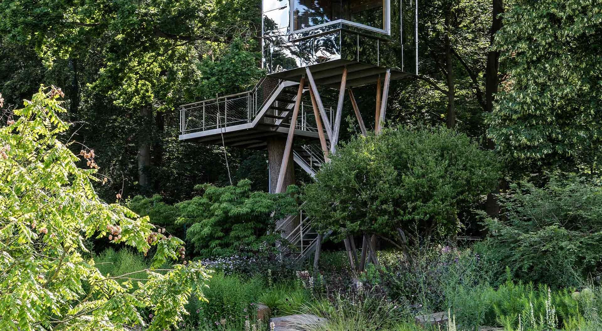 Modernes Glas-Holz-Baumhaus in saftig grüner Umgebung