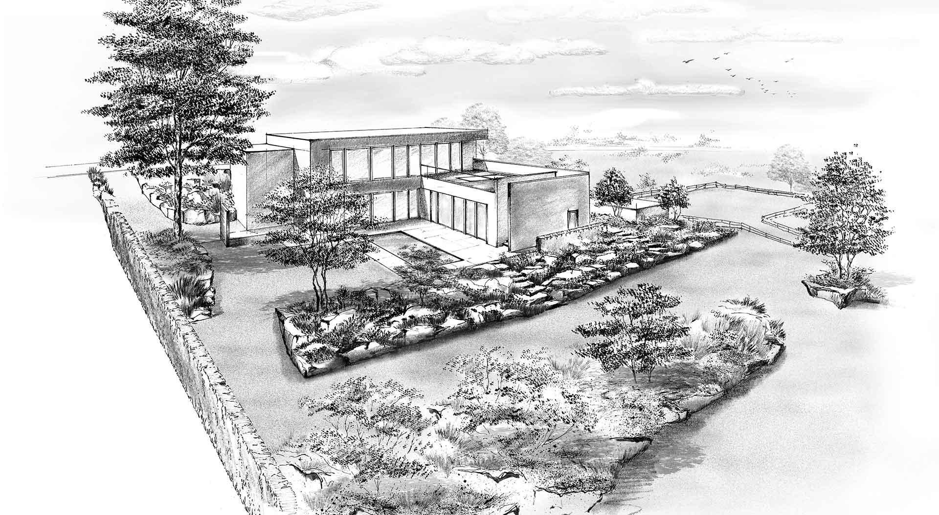 Skizze für Gartenplanung Eifel mit Pool, Zufahrt und Weitblick