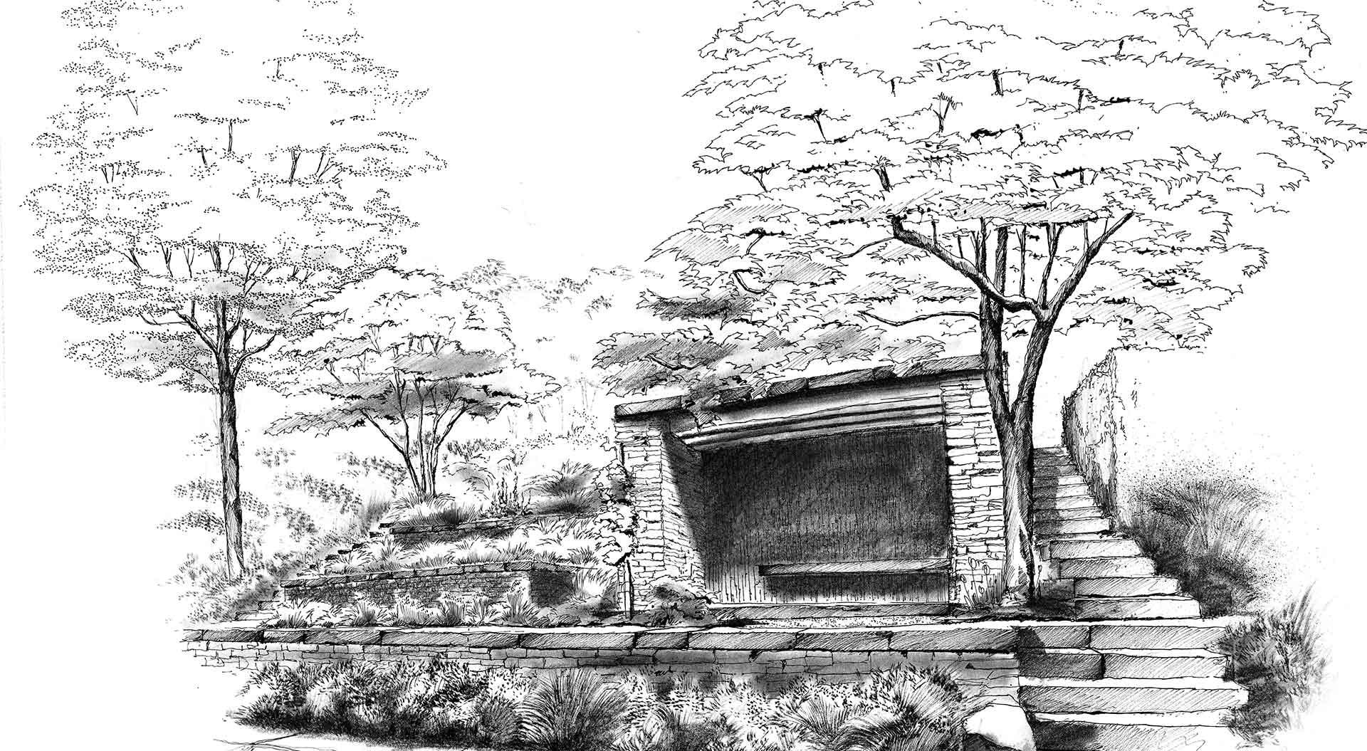 Skizze für Gartenplanung des eigenen Gartens von Peter Berg