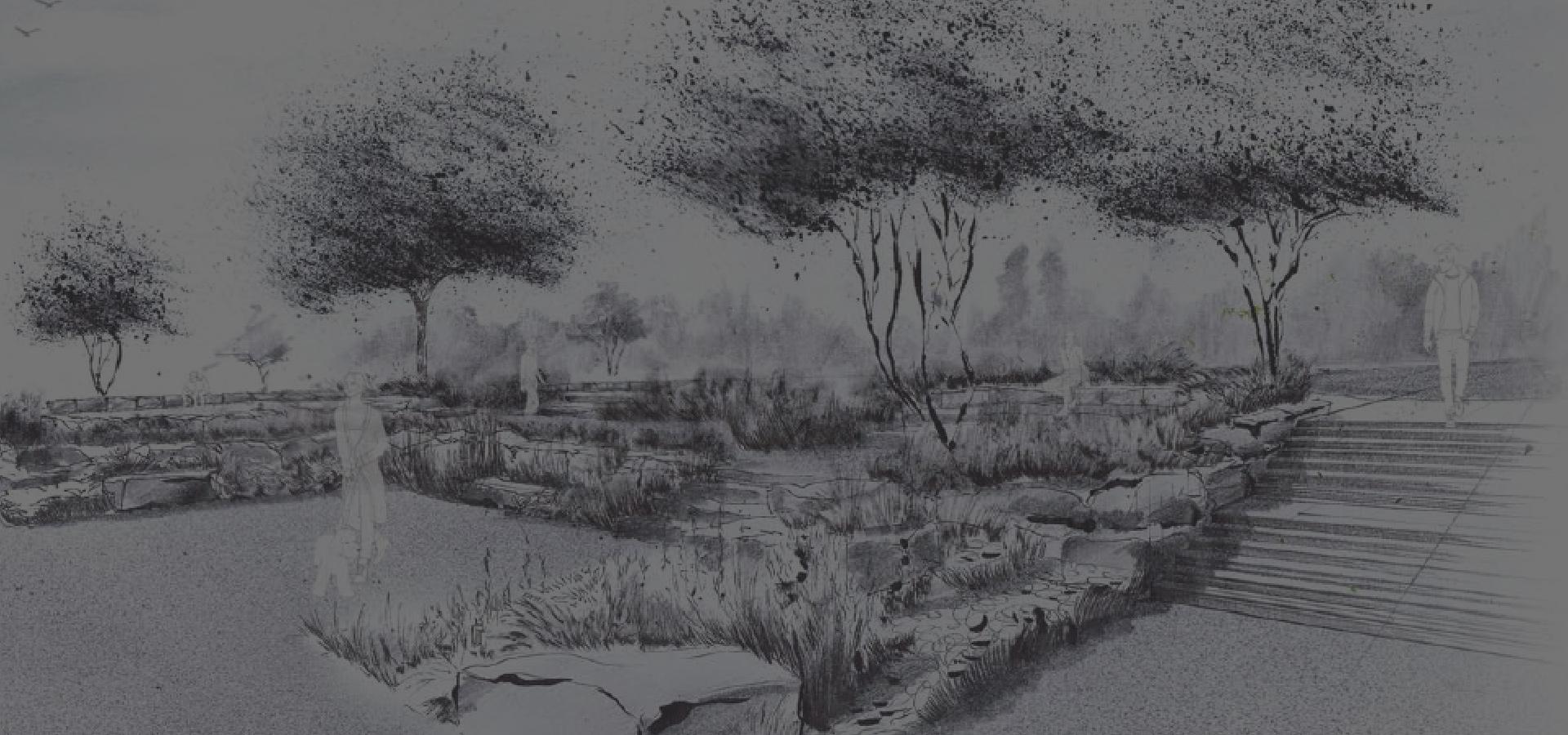 Von Peter Berg konzipierte Zeichnung, wie ein Garten aussehen kann