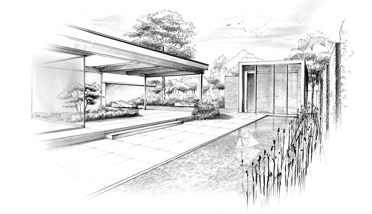 Skizze Gartenplanung für einen Privatgarten mit Wasser, Pflanzen und Naturstein