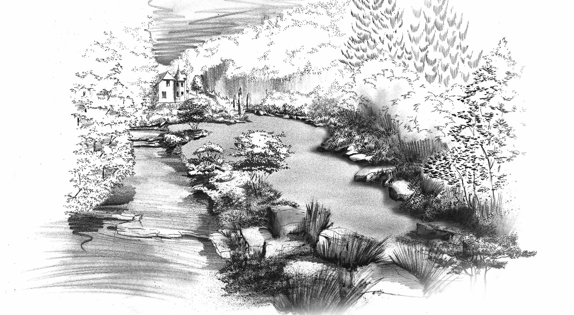 Hand-drawn sketch of a company garden