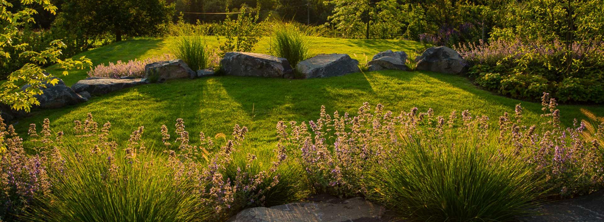 Angelegter Garten mit Stauden, Gräsern und Naturstein im Abendlicht