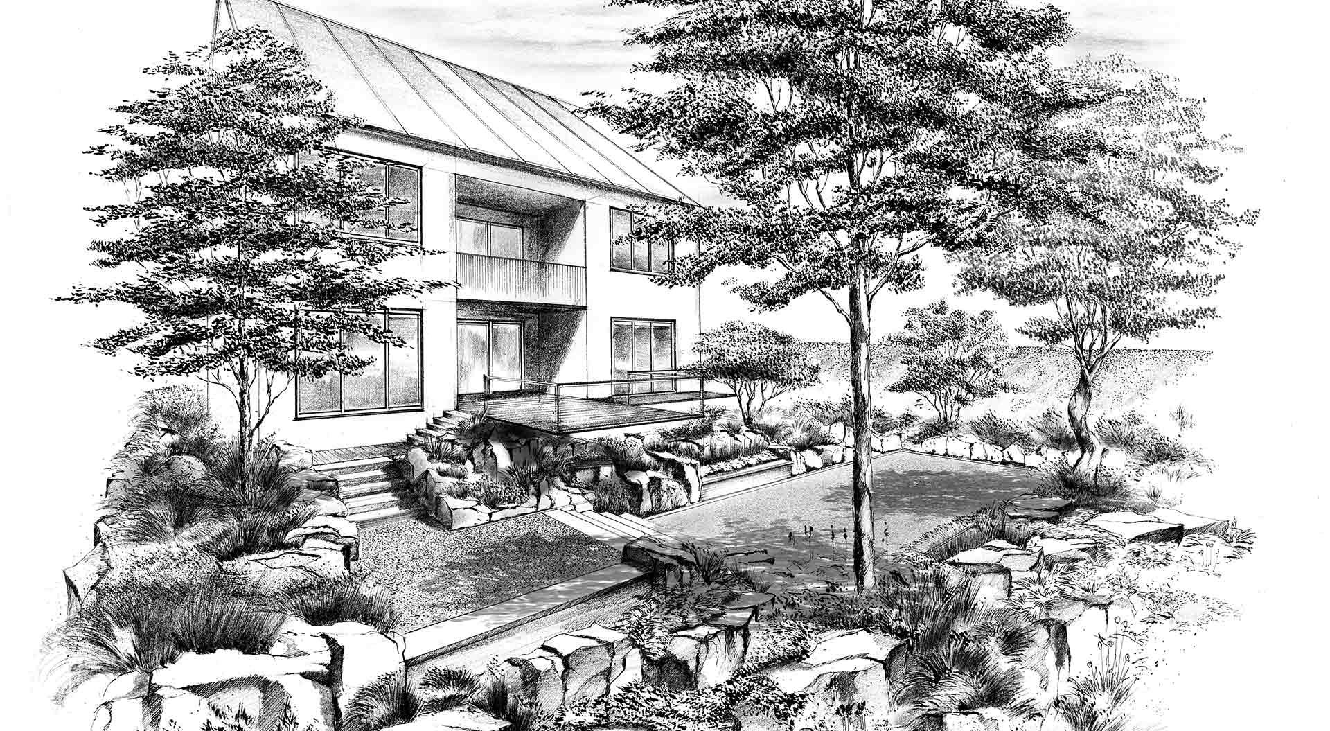 Skizze für Gartenplanung bei Luxemburger Hanggarten