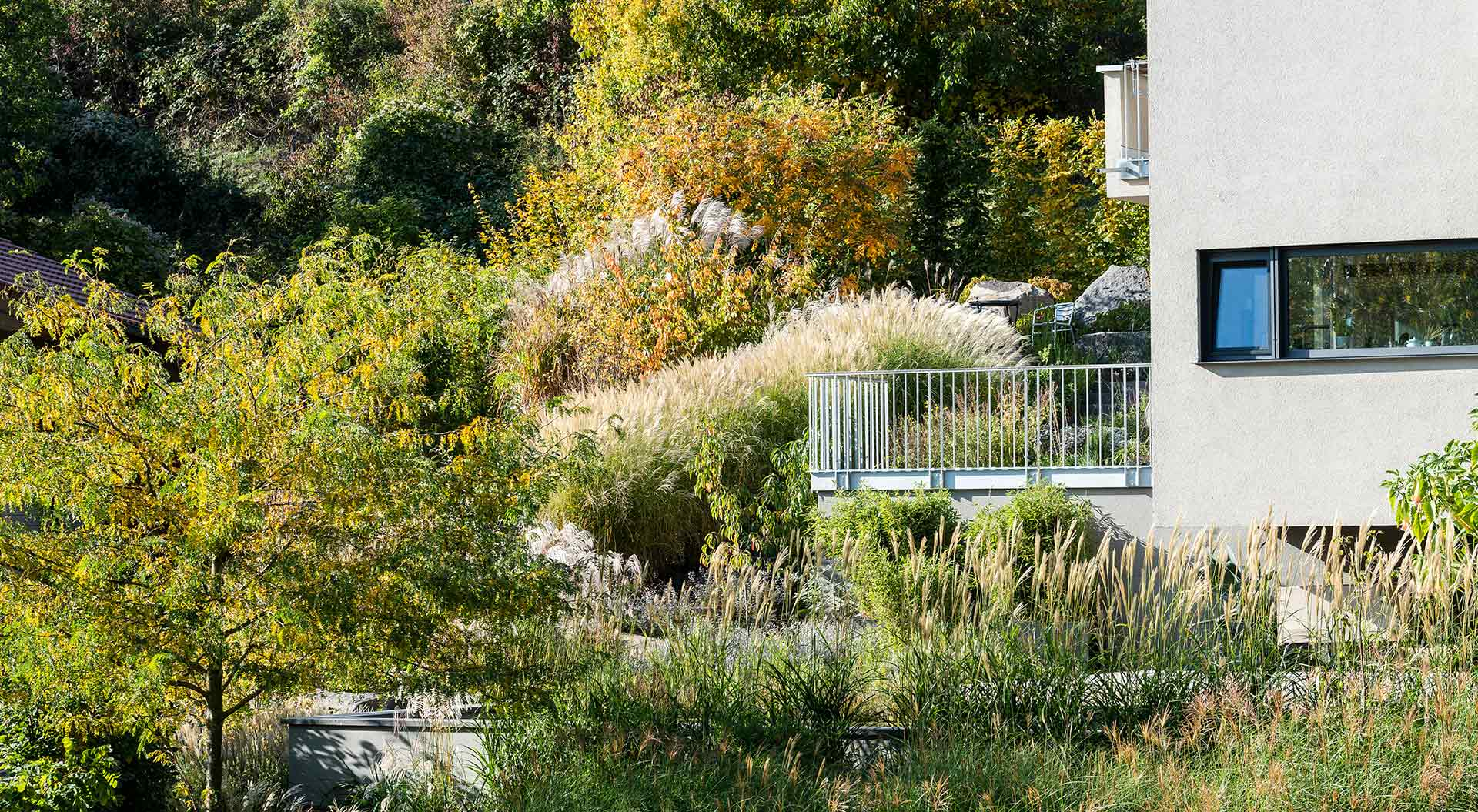 Terrace or balcony blends nicely into the natural garden
