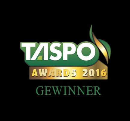 Logo des Taspo-Awards von 2016, den Peter Berg Gartendesign gewonnen hat